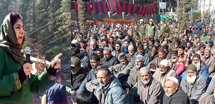 PDP chief Mehbooba Mufti addressing party workers in Kupwara on Tuesday. — Excelsior/Aabid Nabi