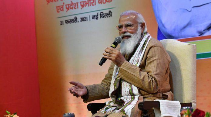 Prime Minister Narendra Modi addressing a meeting of BJP office bearers in New Delhi on Sunday.
