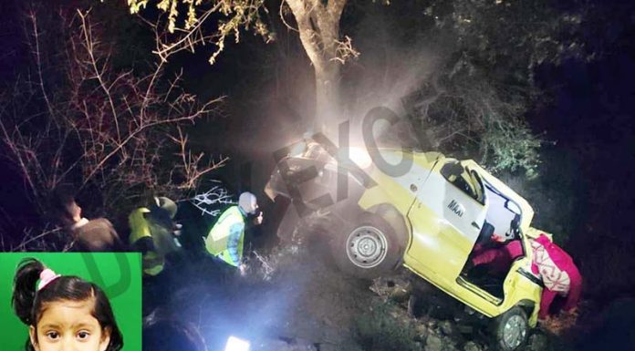 Ill-fated vehicle after accident. Pic of lone survivor Ananya (inset). -Excelsior/Rafi Choudhary