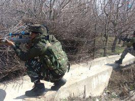 Troops during encounter in Anantnag on Wednesday. — Excelsior/Sajad Dar