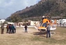 Chopper at Ram Leela Ground in Jyotipuram, Reasi after emergency landing on Wednesday morning. — Excelsior/ Romesh Mengi