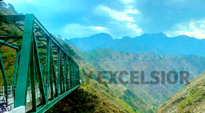 A beautiful view of Reasi to Dangakote road and surrounding mountains. -Excelsior/Karandeep Singh