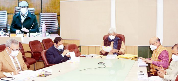 Lieutenant Governor Manoj Sinha chairing Administrative Council meeting at Raj Bhawan in Jammu on Saturday.