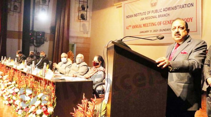Union Minister Dr Jitendra Singh addressing the AGM of IIPA in Jammu on Sunday. -Excelsior/Rakesh