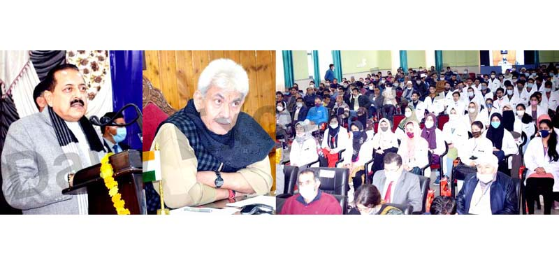 Union Minister Dr Jitendra Singh and Lt Governor Manoj Sinha speaking during inauguration of first academic batch of Doda GMC on Saturday. -Excelsior/Tilak Raj