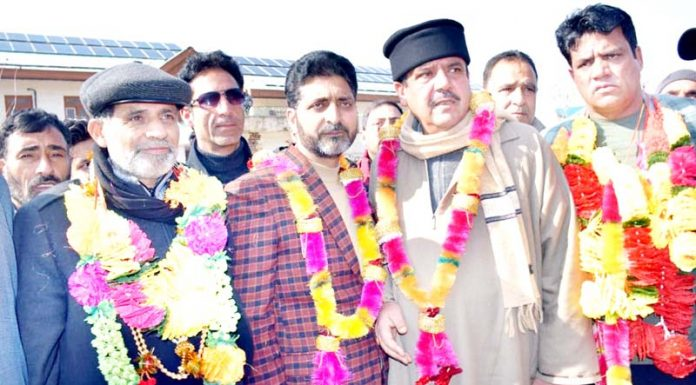 Peoples Conference leader Irfan Panditpuri after being elected as DDC chairperson of Kupwara on Monday. -Excelsior/Aabid Nabi
