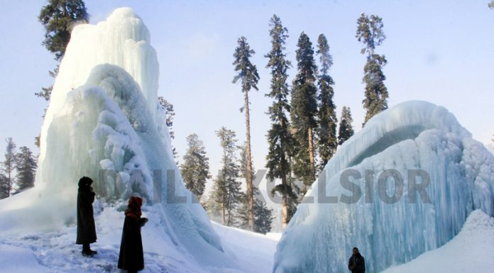 As temperature remains below freezing point in Kashmir, huge icicles are seen around a water supply line in Tangmarg area of North Kashmir's Baramulla district. -Excelsior/ Aabid Nabi