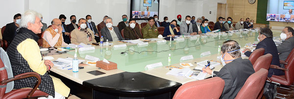 Lieutenant Governor Manoj Sinha reviewing smart city projects in Jammu on Thursday.
