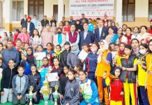 DG YSS, Saleem-Ur-Rehman along with DSEJ, Anu Radha Gupta posing for a group photograph with winners of Athletic meet at Jammu.