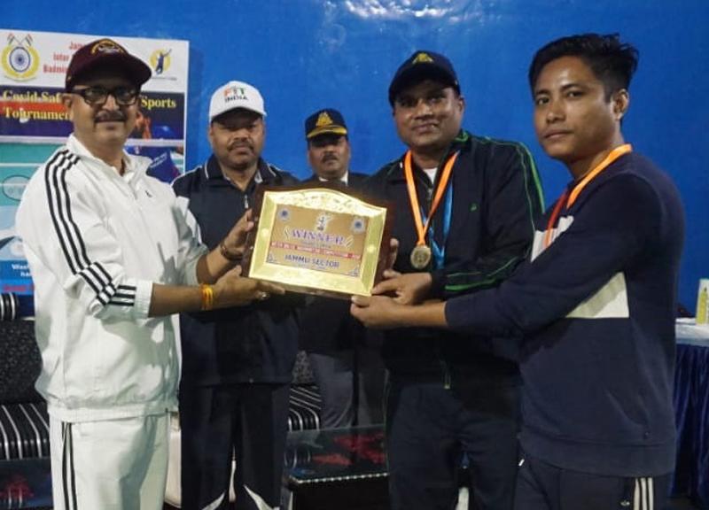 CRPF DIG Jammu Range, Rajendra Prasad presenting meritorious certificate to player at Jammu.
