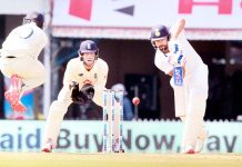 Rohit Sharma in action during the first day of second test match against England at Chennai on Saturday.