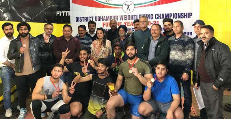 Winners posing with chief guest, Preeti Khajuria at Udhampur on Sunday.