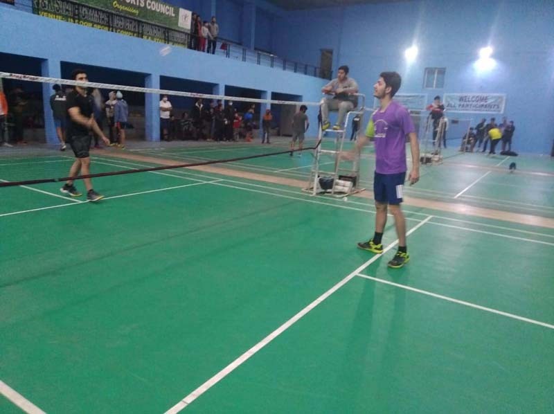 Players in action during Badminton match at Jammu.