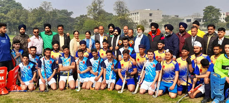 Winning team posing for a group photograph along with dignitaries of the event in Jammu. Winning team posing for a group photograph along with dignitaries of the event in Jammu.