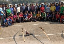 Winning players of Archery posing for group photograph along with dignitaries at Jammu.