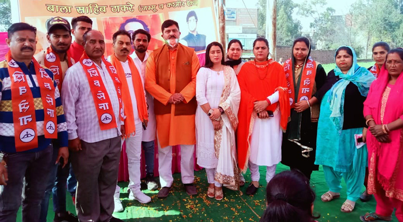J&K Shiv Sena leaders along with new entrants into the party posing for a group photograph at R.S Pura on Tuesday.