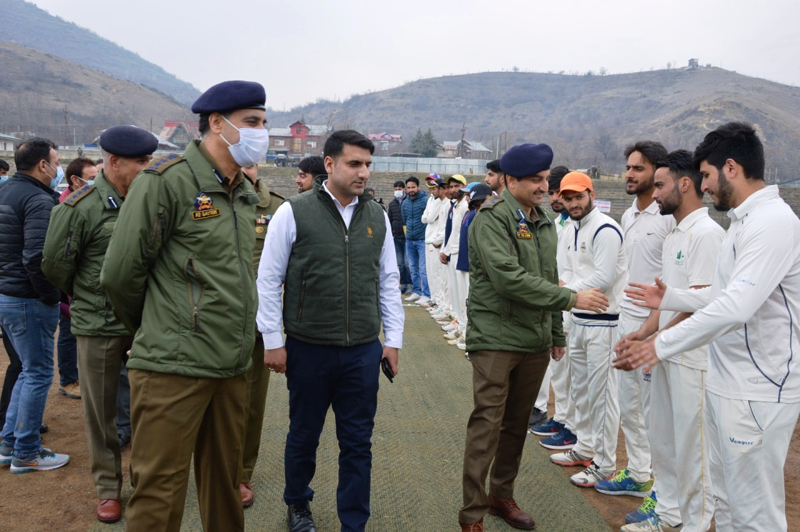 DIG North Kashmir interacting with players during inaugural ceremony of U-19 cricket tournament at Baramulla.