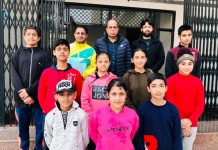 Selected players posing for a group photograph at Jammu.