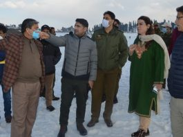 DC Baramulla, Mohd Aijaz Asad inspecting arrangements for Khelo-India Winter Games at Gulmarg on Wednesday.