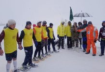 Players during Snow Shoe event competition during 2nd Khelo-India Winter Games at Gulmarg.