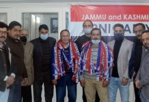 Political activists from Hazratbal at joining function of Apni Party at Srinagar on Tuesday.