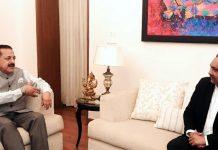 Director General Police, Jammu & Kashmir, Dilbag Singh calling on Union Minister Dr Jitendra Singh, at New Delhi on Saturday.