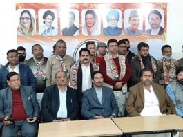 PCC chief GA Mir, senior leaders Mula Ram, Raman Bhalla and others at party's function in Jammu on Tuesday.