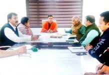 BJP leaders during a meeting at Jammu on Wednesday. -Excelsior/Rakesh