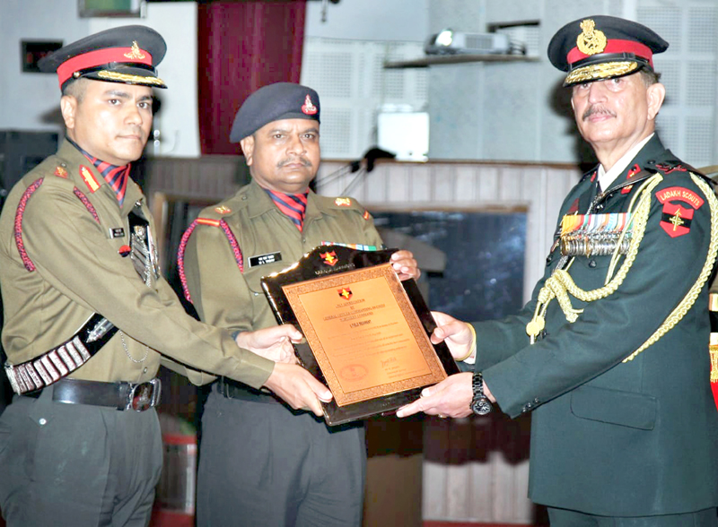Northern Command Chief Lt Gen Y K Joshi awarding Col Pankaj Joshi, Co & Field Regiment during investiture ceremony in Udhampur on Saturday.