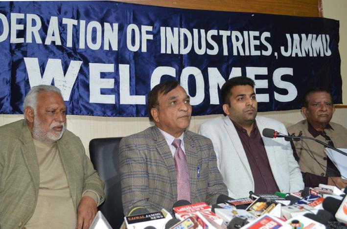 FoIJ chairman Lalit Mahajan addressing press conference in Jammu on Monday. -Excelsior/Rakesh