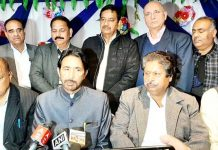 PCC chief GA Mir, flanked by senior party leaders speaking to media in Jammu on Wednesday. -Excelsior/Rakesh