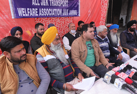 Transporters addressing joint press conference in Jammu on Monday. -Excelsior/Rakesh