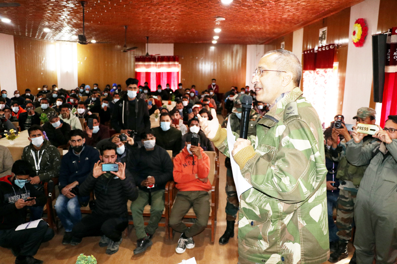 Army Officer addressing youth during a programme. -Excelsior/Younis Khaliq