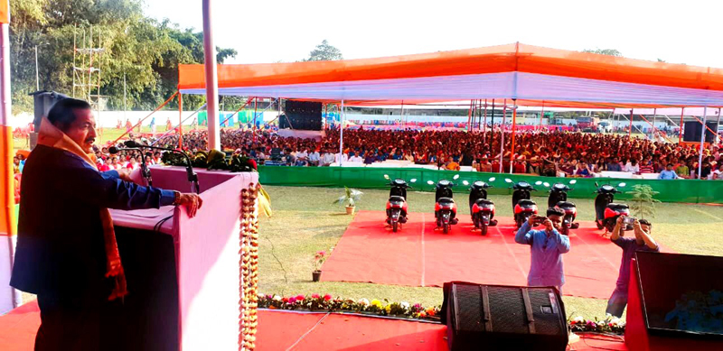 Union Minister Dr. Jitendra Singh addressing a public rally at Rangia, Assam on Tuesday.
