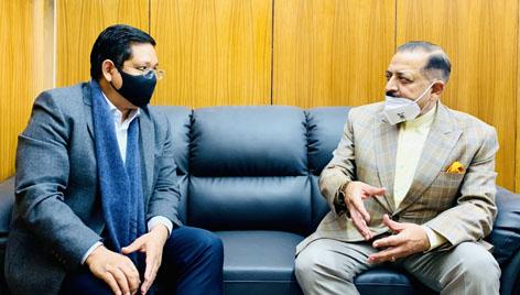 Chief Minister Meghalaya, Conrad Sangma calling on Union Minister Dr Jitendra Singh, at Delhi on Tuesday.