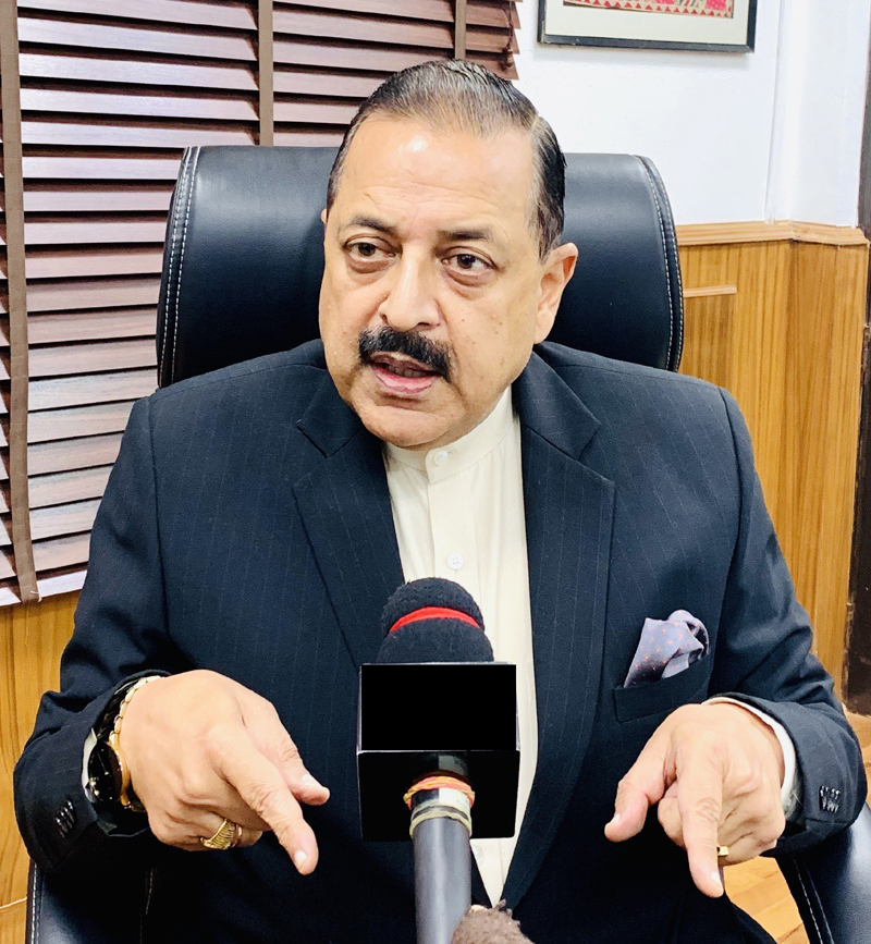 Union Minister Dr Jitendra Singh briefing the media, at New Delhi.