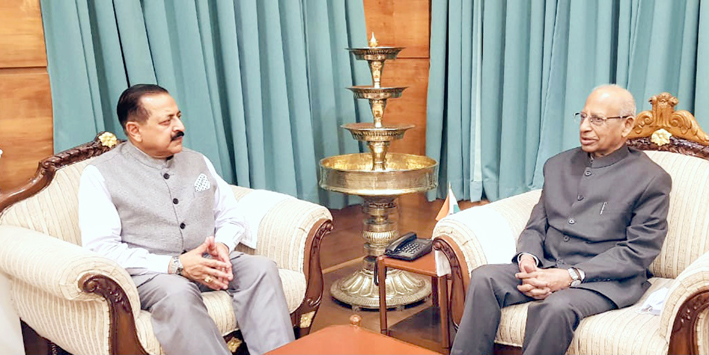 Union DoNER Minister Dr. Jitendra Singh calling on Governor Assam, Prof Jagdish Mukhi at Raj Bhawan, Guwahati on Monday.