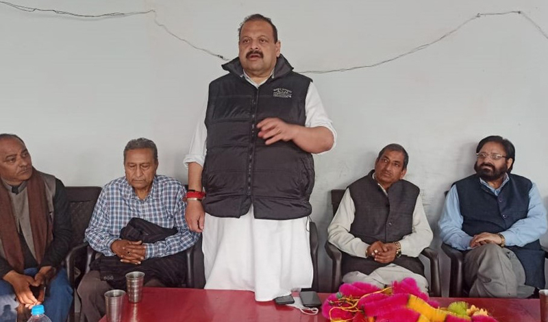 NC Provincial President Devender Singh Rana addressing office bearers of party at Kathua.