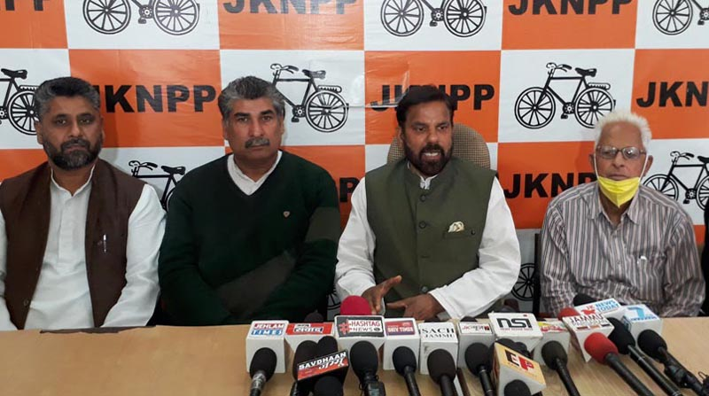 Harshdev Singh addressing a press conference at Jammu on Wednesday.