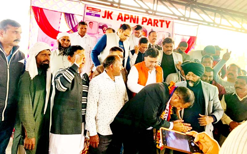 Senior leaders of Apni Party welcoming new entrants into party fold at Mishriwala in Jammu.