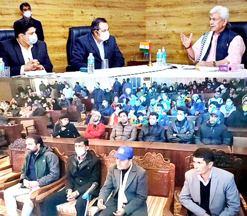 Lt Governor Manoj Sinha addressing closing ceremony of Pahalgam Winter Carnival on Sunday.