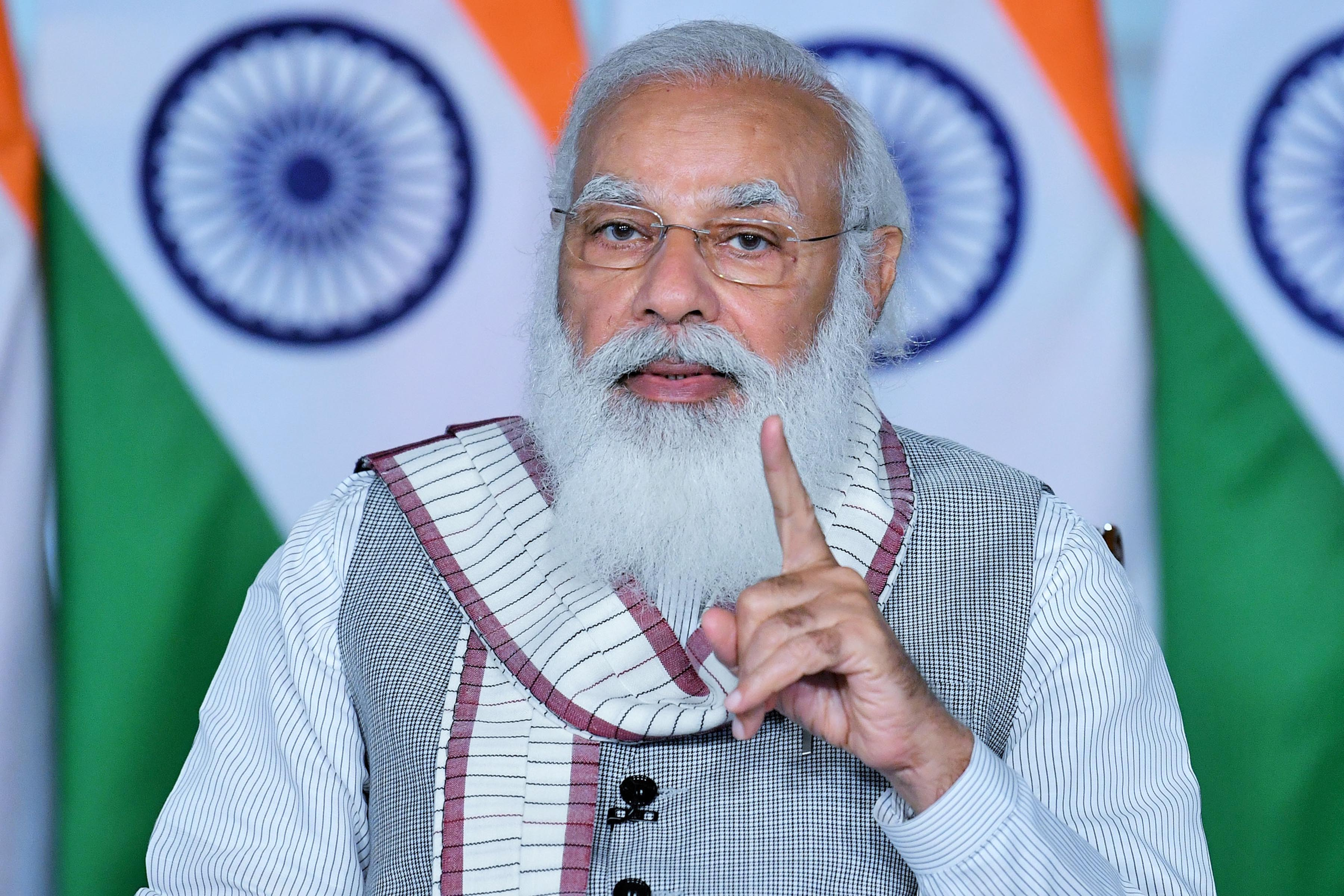 Prime Minister Narendra Modi addressing at the webinar for effective implementation of Union Budget in Health Sector, in New Delhi on Tuesday. (UNI)