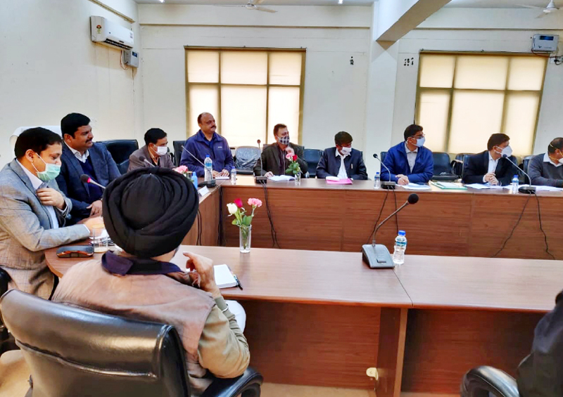 Comm/ Secy Jal Shakti Department M Raju chairing meeting of officers and contractors at Jal Bhawan in Jammu on Tuesday.