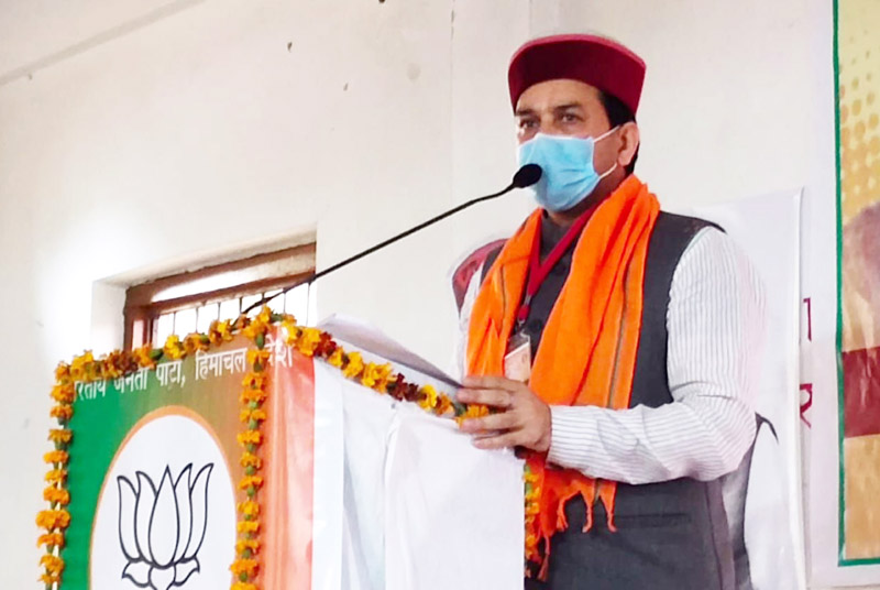 Union Minister of state for Finance and Corporate affairs, Anurag Thakur addressing to party workers in Hamirpur on Saturday. (UNI)