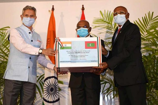 External Affairs Minister S Jaishankar hands over 100,000 additional doses of COVID vaccine to Maldives' Foreign Minister Abdulla Shahid and Health Minister Kerafa Naseem.