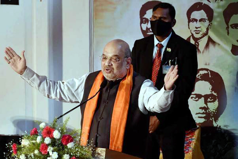 Union Home Minister Amit Shah addresses after inauguration of the 'Shauryanjali Programme' - a tribute to the Bengali revolutionaries, in Kolkata.