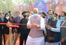 Defence Minister Rajnath Singh along with Union Minister for Minority Affairs Mukhtar Abbas Naqvi inaugurating the 26th 'Hunar Haat' (21 Feb 2021) of indigenous artisans and craftsmen from across the country at Jawaharlal Nehru Stadium in New Delhi on Sunday. (UNI)