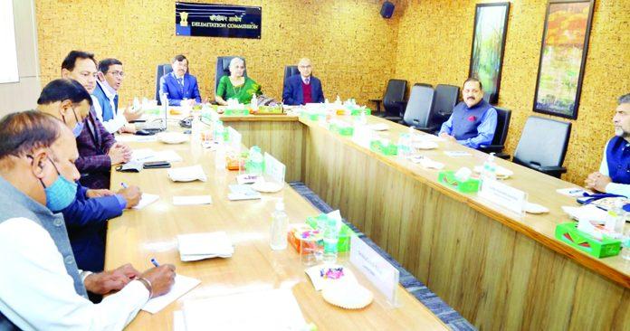Justice (Retd) Ranjana Prakash Desai chairing the meeting of J&K's Delimitation Commission in New Delhi on Thursday.