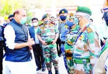 Minister for Defence Rajnath Singh at the Combined Commanders' Conference at Kevadia, Gujarat on Friday.