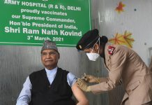 President Ram Nath Kovind while receiving the first dose of COVID-19 vaccine, during the second phase of a countrywide inoculation drive, in New Delhi.